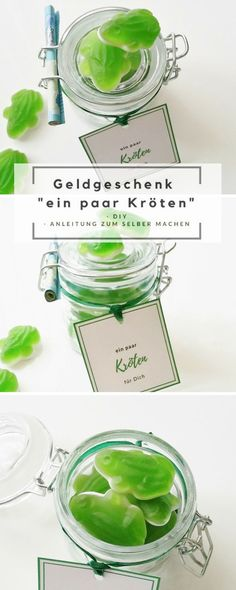 "Geldgeschenk im Glas ""Kröten"" & Free Printable DIY - gifts for boyfriend Diy Holiday Gifts, Christmas Gifts For Mom, Mason Jar Crafts, Mason Jar Diy, Diy Birthday, Birthday Gifts, Birthday Present Diy, Diy 2019, Diy Pinterest"