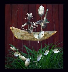 Father and  Daughter Fishing Trip Spoon Fish Wind Chime