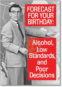 Forecast for Tonight Funny Birthday Card Ephemera