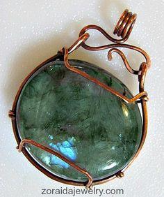 Labradorite and Copper Pendant, simply wrapped, refined rustic design