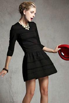 Lantern hem Slim Dress- also in red