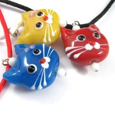 Kitty cat necklace red blue yellow faces lampwork silk cords adorable | Thesingingbeader - Jewelry on ArtFire