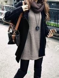 black coat, sweater, tights, knee high boots, wool scarf, bag