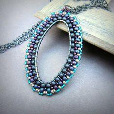 beaded oval pendant -