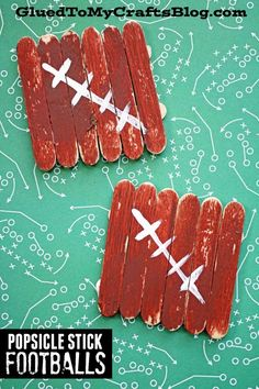 Mini Popsicle Stick Footballs - Fall Kid Craft Tutorial Easy Fall Crafts, Halloween Crafts For Kids, Crafts For Kids To Make, Cute Crafts, Craft Stick Crafts, Popsicle Stick Art, Football Crafts, Crayon Crafts, Craft Projects For Kids
