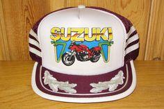 SUZUKI Motorcycle Original Vintage 1990 Burgundy Laurels Mesh Snapback Trucker Hat Katana @ HatsForward
