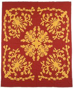 "Vintage Hawaiian Appliquéd Quilt Top, ca. 1950, 75 x 86"", Cowan's Auctions"