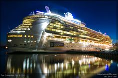 Watch a cruise ship like Independence of the Seas make her way from the shipyard to Southampton.