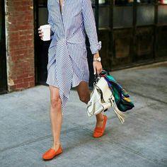 Striped dress + orange loafers.