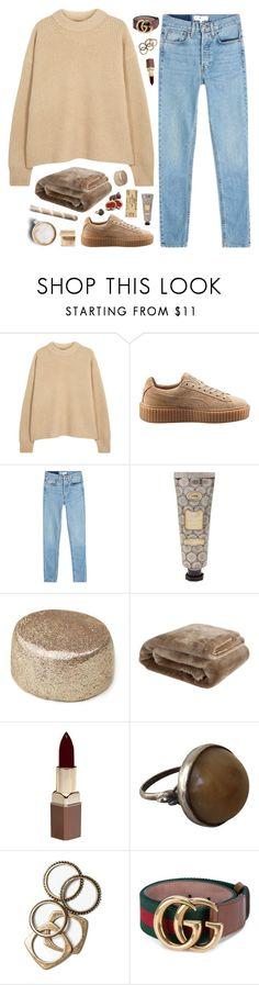 """A VOICE LIKE A RIOT"" by nandim ❤ liked on Polyvore featuring The Row, Puma, RE/DONE, Zara Home, Fashion Fair, Rachel Leigh, Gucci, Bobbi Brown Cosmetics and Caffé"