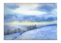 Traces dans la neige, watercolor by Luciane Lapierre