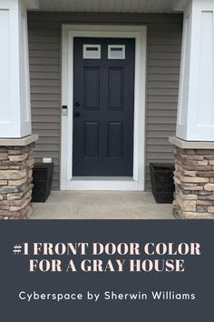 DIY Front Door Makeover. Cyberspace by Sherwin Williams. #1 front door color for a gray house. A simple paint project with a big impact! Dark gray with nice navy undertones.