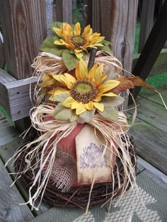 Folk Art PrimiTive FALL CounTry ScareCrow SunFlowers PUMPKIN Wreath DecoraTion #Country #MelissaHarmon