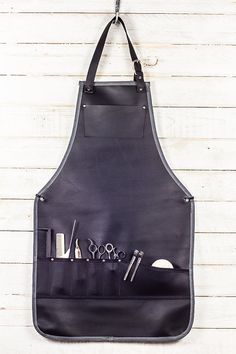Full Stylist Apron Black Leather