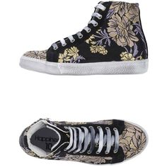 Happiness Sneakers ($80) ❤ liked on Polyvore featuring shoes, sneakers, flats, black, floral flats, floral flat shoes, flat shoes, round toe flats and black trainers
