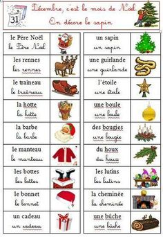 Noël, des mots on FLE enfants curated by Pilar_Mun French Christmas, Christmas Words, Christmas Tree, Christmas Worksheets, Christmas Activities, French Teacher, Teaching French, How To Speak French, Learn French