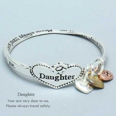 "Amazon.com: Womens Silver Bracelet, Daughter Bangle Bracelet, Silver / Gold / Copper, You are Dear To me, Travel Safely, 2 1/2"" Diameter: Jewelry"