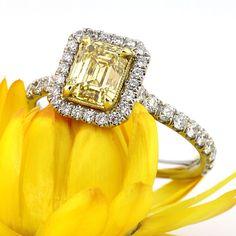1.95ct Fancy Intense Yellow Emerald Cut Diamond Engagement Anniversary Ring, #fancy yellow, #diamond engagement ring