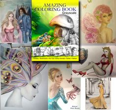 🎨 Examples of coloring from buyers  Amazing Coloring Book. Grayscale  available on on Amazon http://www.amazon.com/dp/1533533393  This book includes 32 unique different hand drawn illustrations :  Fantasy, Mushrooms, Pin Up,Funny Animals,Fairies,Fashion illustrations. Page size is 8.5x11inches.