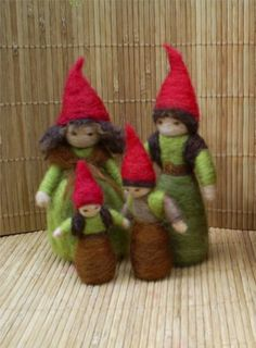 Family of Gnomes - Waldorf Style - Needle felted with New Zealand wool