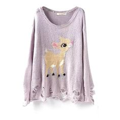 Cute Deer Pattern Scoop Neck Long Sleeve Ripped Sweater ($20) ❤ liked on Polyvore featuring tops, sweaters, destroyed sweater, scoopneck top, distressed sweater, scoop neck top and purple sweater
