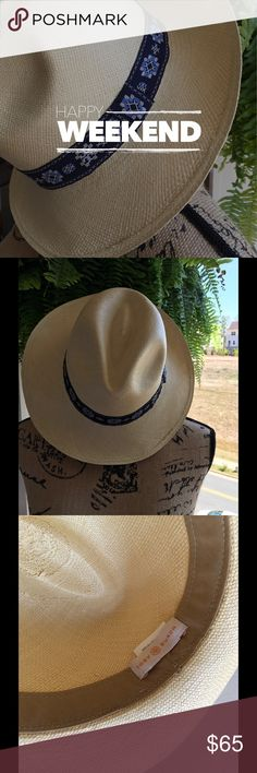 Tory Burch Fedora 2016 Collection NWOT Natural color hat with blue ribbon. Never worn. Tory Burch Accessories Hats
