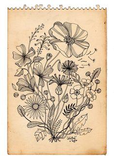 tattoo dessin bouquet, Cécile Hudrisier