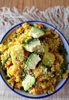 Quinoa Curry Bowl.  Great minds think alike!  My favorite meal is quinoa, veggies and a curry tahini sauce.  This recipe looks great!