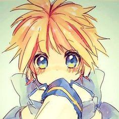 Len dressed as Kaito. So kawaii!!! Vocaloid kagamine.