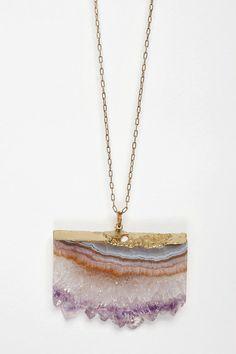 ♦ raw amethyst necklace