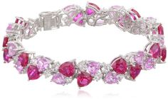 """Sterling Silver Created Ruby, Pink and White Sapphire Bracelet, 7.25"""" Amazon Curated Collection http://www.amazon.com/dp/B00CCYXZ5O/ref=cm_sw_r_pi_dp_iR3cvb1ZTJ89Z"""