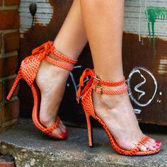 What's Hot! Privileged Snake Sandal Heels Mi Casa