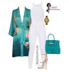 Womens kimono women's all white ootd white pants teal turquoise and white taupe heels women's summer fashion juniors sophisticated sexy Trend Fashion, Love Fashion, Autumn Fashion, Fashion Looks, Fashion Outfits, Womens Fashion, Fashion Night, Fashion Spring, White Outfits