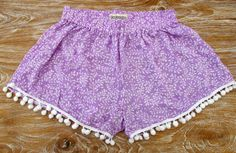 Pom Pom Shorts Lilac and White Leaf / Vine pattern by ljcdesignss