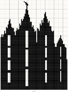 LDS Salt Lake City Utah Temple Silhouette Cross Stitch Pattern- Free