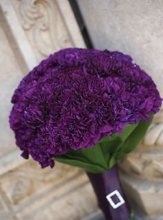 Purple carnations!! My grandmas favorite flower with her birthstone color. I will have these in my bouquet and in my sisters as well when she is my matron. And each other girls will have a different flower.