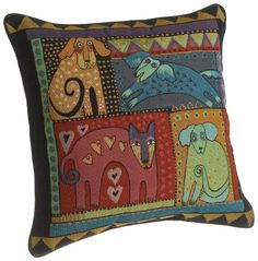 Laurel Burch 18-inch Mythical Dogs Square Pillow.  List Price: $30.00  Buy New: $19.25  You Save: 36%  Deal by: SmartPillowShoppers.com