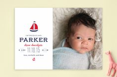 Seafarer Birth Announcements by Lauren Chism | Minted