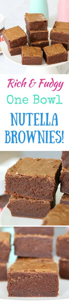 OMG these Nutella Brownies are incredible! I made another batch the next day... they're seriously that good! #nutella #brownies #chocolate #recipe