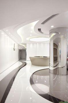 汽车展厅及售房部: Spaceship Interior, Futuristic Interior, Futuristic Furniture, Futuristic Design, Futuristic Architecture, Corporate Interior Design, Corporate Interiors, Office Interiors, Modern Interior Design