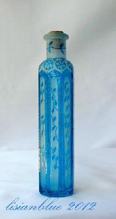 Art Nouveau Hand Painted Floral Bottle