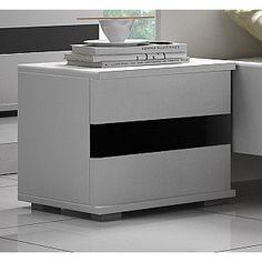 Moderní noční stolek do ložnice LUCCA bílá / černý lesk Lucca, Filing Cabinet, Nightstand, Storage, Table, Furniture, Home Decor, Purse Storage, Bedside Desk