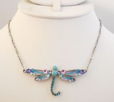 NWT ANNE KOPLIK FLYING DRAGONFLY NECKLACE TURQUOISE & PURPLE SWAROVSKI CRYSTAL