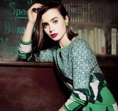 Lily Collins by Karl Lagerfeld for Barrie Knitwear