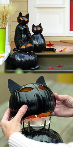 Halloween Pumpkins - Make black cat o'lanterns: clean out top pumpkin only; stuff w/ newspaper prior to spray painting; cut curved slits in top for ears to be inserted into (don't cut slits all the way through pumpkin). Soirée Halloween, Holidays Halloween, Halloween Treats, Halloween Pumpkins, Homemade Halloween, Halloween Sayings, Halloween Graveyard, Halloween Black Cat, 4 Person Halloween Costumes