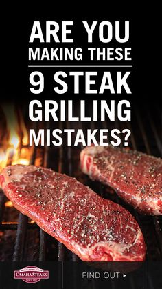 """A juicy, tender grilled steak isn't difficult. Avoid these common grilling mistakes, you might even call them """"mis-steaks,"""" and master the art of steak grilling. Learn the best time to season a steak, why you don't cook a cold steak, how to prep your grill, when to flip a steak using the 60/40 rule, know when your steak is cooked to your desired doneness, and more.   Check out all 9 steak grilling mistakes to avoid and impress your friends and family with your steak grilling skills.  Steak Grilling Times, Steak On Gas Grill, Steak Cooking Times, Cooking The Best Steak, Big Steak, Grilling The Perfect Steak, Cooking On The Grill, How To Make Steak, Ways To Cook Steak"""