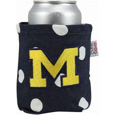 Michigan Wolverines Navy Blue Polka Dot Canvas Can Koozie  #UltimateTailgate #Fanatics