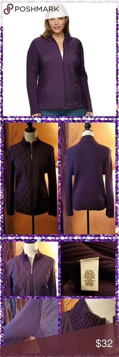 Purple quilted sweater jacket. Beautiful purple plum color. Long sleeve, mock turtleneck. Quilted front with full zipper. Ribbed sleeves and back. Machine washable. croft & barrow Jackets & Coats