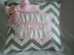 Personalized Chevron baby pillow in gray and pink. Personalized Baby Shower Gifts, Personalized Pillows, Childrens Gifts, Baby Pillows, Chevron, Sewing Projects, Craft Ideas, Shower Party, Nursery Ideas