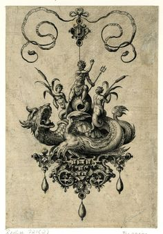 Jewell design with Neptune flanked by two nereids holding bulrushes riding a seamonster. 1582 Engraving. ​1582